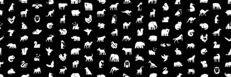 Seamless pattern with Animals logos. Isolated on Black background