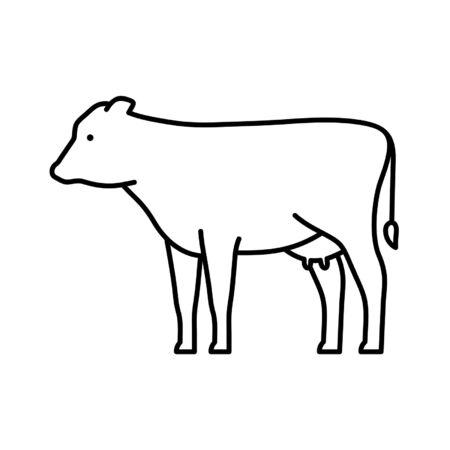 牛の線のアイコン。アイコンデザイン。テンプレート要素