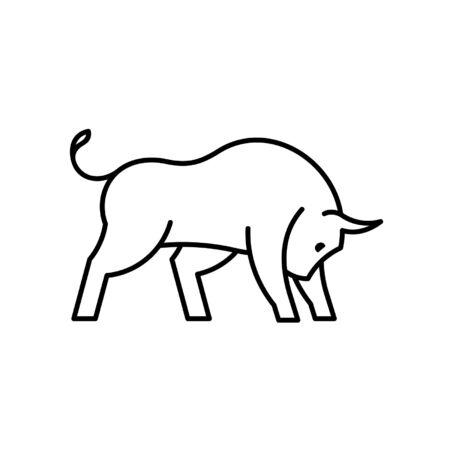 Bull-Liniensymbol. Icon-Design. Vorlagenelemente Vektorgrafik