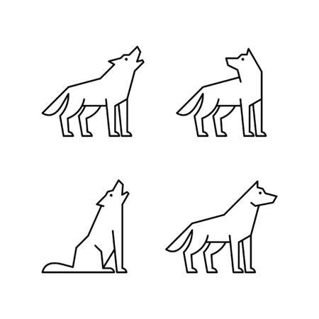 Ensemble d'icônes de ligne de loups. Conception d'icônes. Éléments du modèle Vecteurs