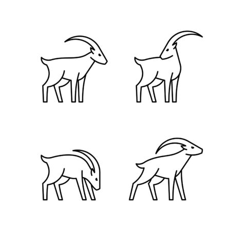 Set of Goats line icon. Icon design. Template elements