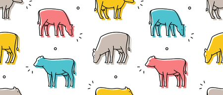 Seamless pattern with Cows. isolated on white background Illustration