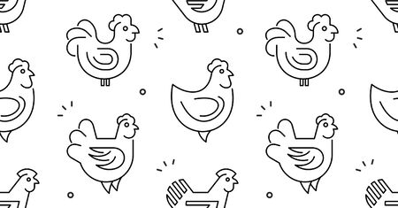 Seamless pattern with Hens, chickens. isolated on white background Foto de archivo - 134493424