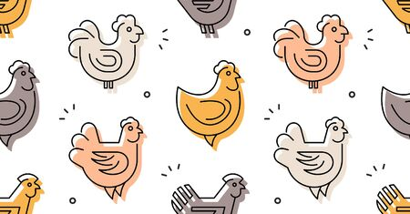 Seamless pattern with Hens, chickens. isolated on white background