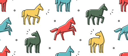 Seamless pattern with Horses. isolated on white background Illustration