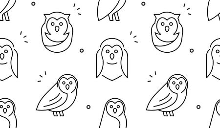 Seamless pattern with Owls. isolated on white background