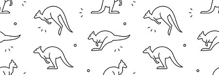 Seamless pattern with Kangaroos. isolated on white background