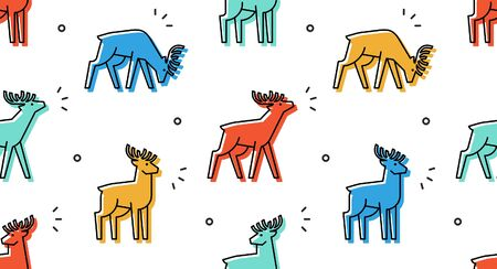 Seamless pattern with Deers. isolated on white background Illustration