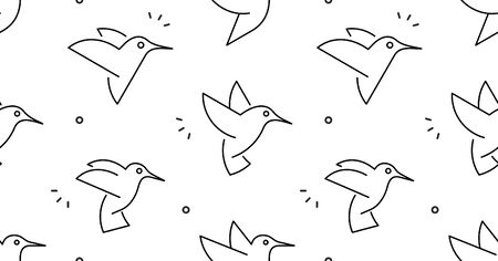Seamless pattern with Hummingbirds. isolated on white background Illustration