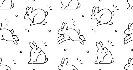 Seamless pattern with Rabbits. isolated on white background