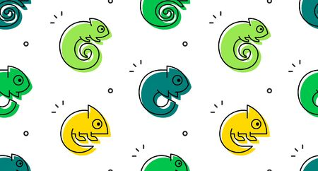 Seamless pattern with Chameleons. isolated on white background