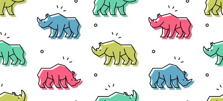 Seamless pattern with Rhinoceros. isolated on white background Illustration