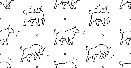 Seamless pattern with Bulls. isolated on white background