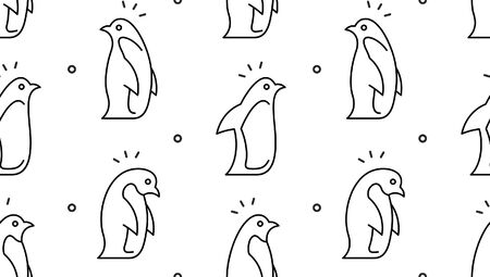Seamless pattern with Penguins. isolated on white background