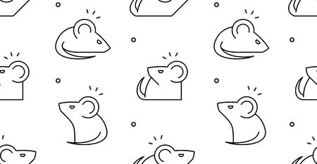 Seamless pattern with Mouses. isolated on white background Illustration