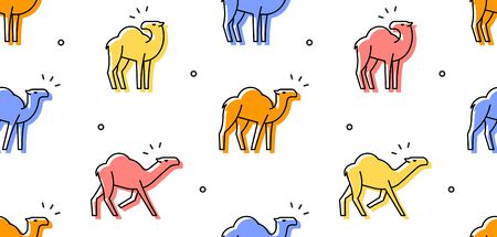 Seamless pattern with Camels. isolated on white background