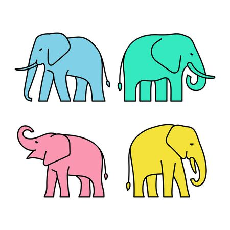 Linear Set of colored Elephants icons. Icon design. Template elements