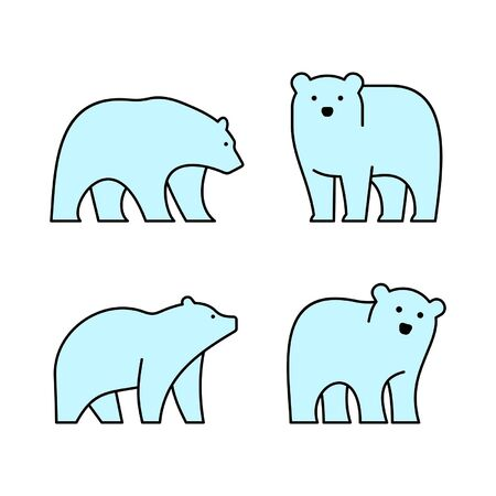Linear Set of colored Bears icons. Icon design. Template elements Illustration