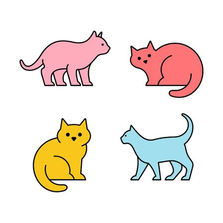 Linear Set of colored Cats icons. Icon design. Template elements