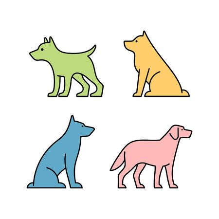 Linear Set of colored Dogs icons. Icon design. Template elements Illustration