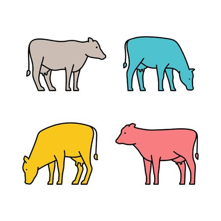 Linear Set of colored Cows icons. Icon design. Template elements