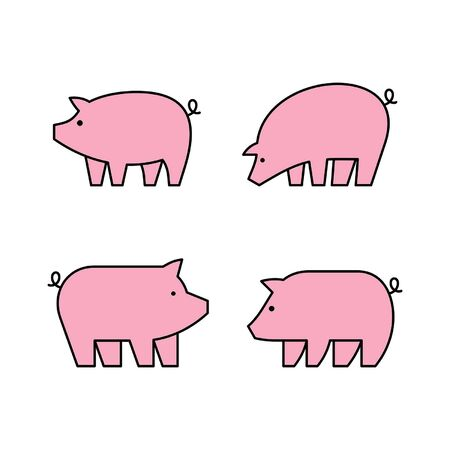 Linear Set of colored Pigs icons. Icon design. Template elements