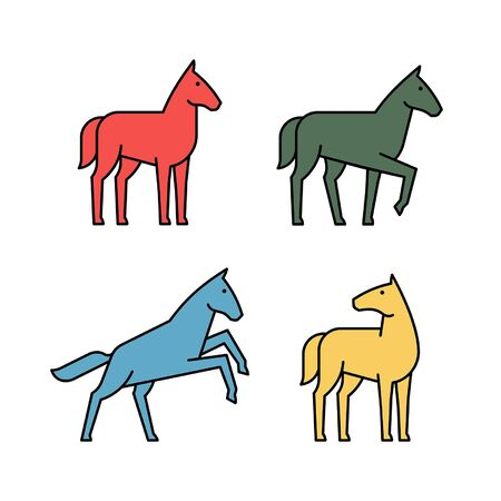 Linear Set of colored Horses icons. Icon design. Template elements Illustration
