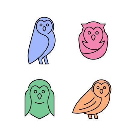 Linear Set of colored Owls icons. Icon design. Template elements