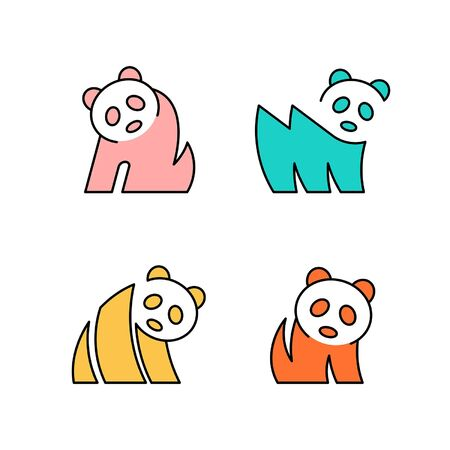 Linear Set of colored Pandas icons. Icon design. Template elements
