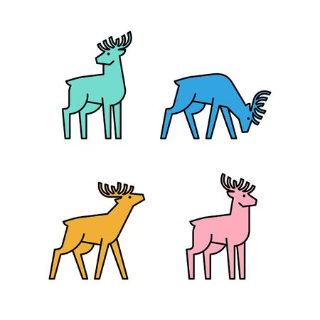 Linear Set of colored Deers icons. Icon design. Template elements Illustration