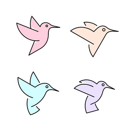 Linear Set of colored Hummingbirds icons. Icon design. Template elements