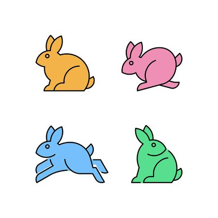 Linear Set of colored Rabbits icons. Icon design. Template elements