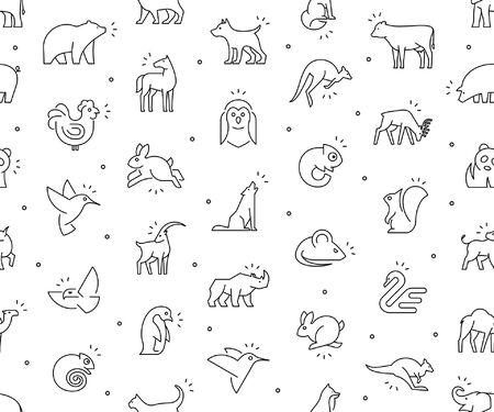 Seamless pattern with Animals icons. Animal icons set. Isolated on White background Illustration