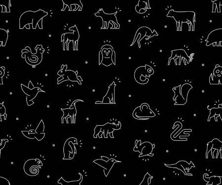 Seamless pattern with Animals icons. Animal icons set. Isolated on Black background Illustration
