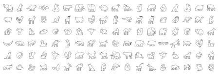 Linear collection of Animal icons. Animal icons set. Isolated on White background Illustration