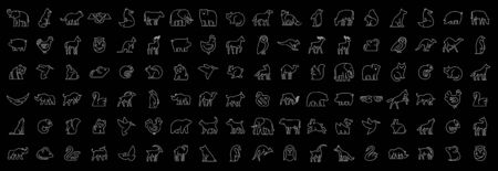 Linear collection of Animal icons. Animal icons set. Isolated on Black background