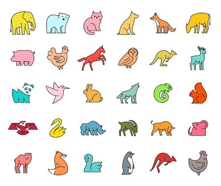 Linear collection of colored Animal icons. Animal icons set. Isolated on White background Illustration