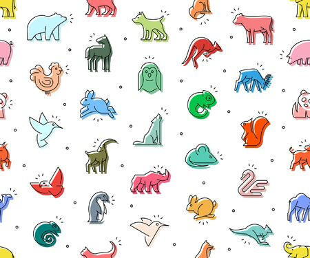 Seamless pattern of colored Animals icons. Animal icons set. Isolated on White background