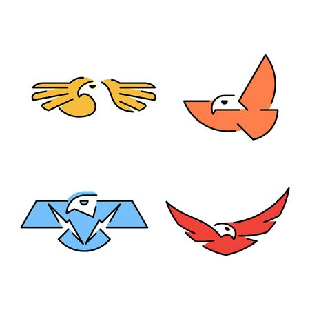Linear Set of colored Eagles icons. Icon design. Template elements Illustration