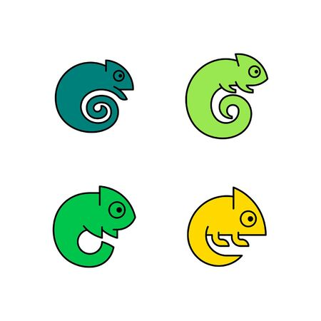 Linear Set of colored Chameleons icons. Icon design. Template elements