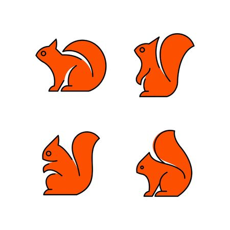 Linear Set of colored Squirrels icons. Icon design. Template elements Illustration