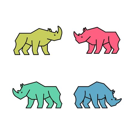 Linear Set of colored Rhinoceros icons. Icon design. Template elements