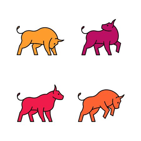 Linear Set of colored Bulls icons. Icon design. Template elements Illustration