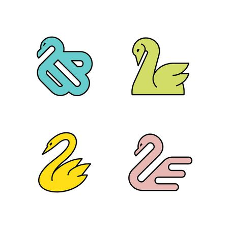 Linear Set of colored Swans icons. Icon design. Template elements