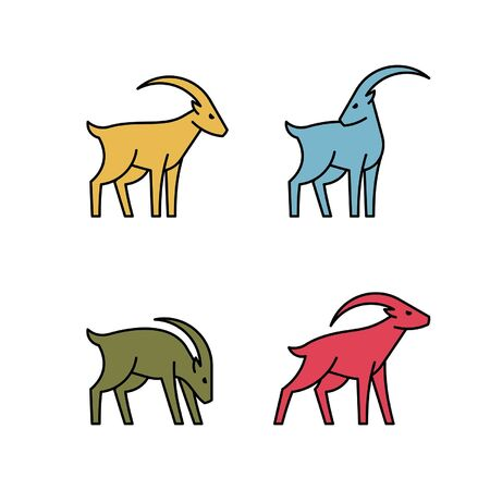 Linear Set of colored Goats icons. Icon design. Template elements