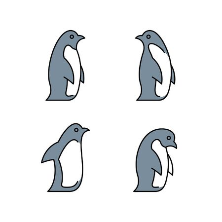 Linear Set of colored Penguins icons. Icon design. Template elements Illustration