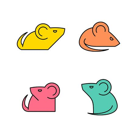 Linear Set of colored Mouses icons. Icon design. Template elements Illustration