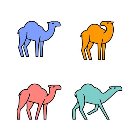 Linear Set of colored Camels icons. Icon design. Template elements