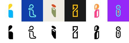 Set of letter I. Icon design. Template elements - Collection of vector sign