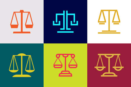 Set of Justice law logo. Icon design. Template elements 向量圖像